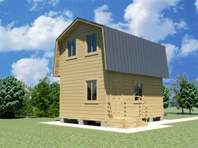 Каркасный дачный дом 3.8х5