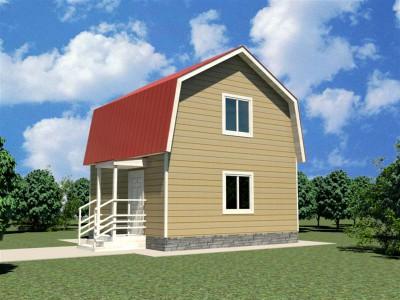 Каркасный дачный дом 3,8х6