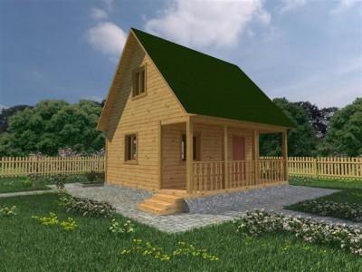 Каркасный дачный дом 4,5х6 с террасой 1,5х6 (КС9)