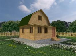 Каркасный дачный дом 4х6 с верандой 2х6 (КС8)
